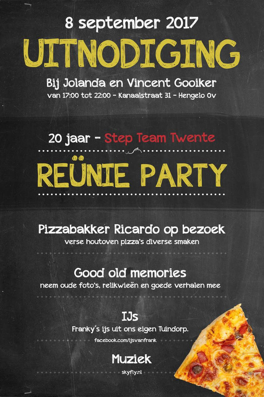 Reünie Party – 20 jaar Step team Twente – Uitnodiging 8 september